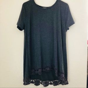 Tops - Gray Lace Tunic